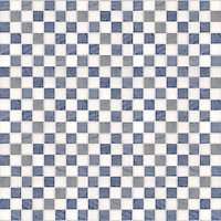 Check Field, a hand-cut stone mosaic, shown in 3 cm in polished Blue Macauba and Thassos.