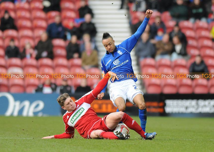 Nathan Redmond od Birmingham City battles with Adam Reach of Middlesbrough - Middlesbrough vs Birmingham City - NPower Championship Football at the Riverside Stadium, Middlesbrough - 16/03/13 - MANDATORY CREDIT: Steven White/TGSPHOTO - Self billing applies where appropriate - 0845 094 6026 - contact@tgsphoto.co.uk - NO UNPAID USE.