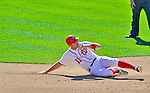 24 September 2012: Washington Nationals third baseman Ryan Zimmerman slides into second during a game against the Milwaukee Brewers at Nationals Park in Washington, DC. The Nationals defeated the Brewers 12-2 in the final game of their 4-game series, splitting the series at two. Mandatory Credit: Ed Wolfstein Photo