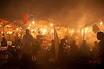 Food Stalls at Djemaa el-Fna, main square, Marrakesh, Morocco, market, night