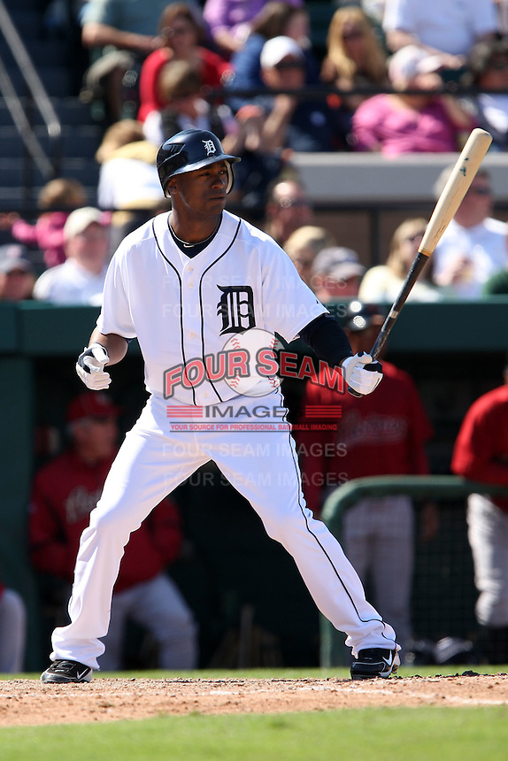 March 5, 2010:  Outfielder Austin Jackson of the Detroit Tigers during a Spring Training game at Joker Marchant Stadium in Lakeland, FL.  Photo By Mike Janes/Four Seam Images