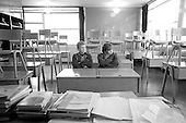 Boys kept in after school as a punishment, Whitworth Comprehensive School, Whitworth, Lancashire.  1970.
