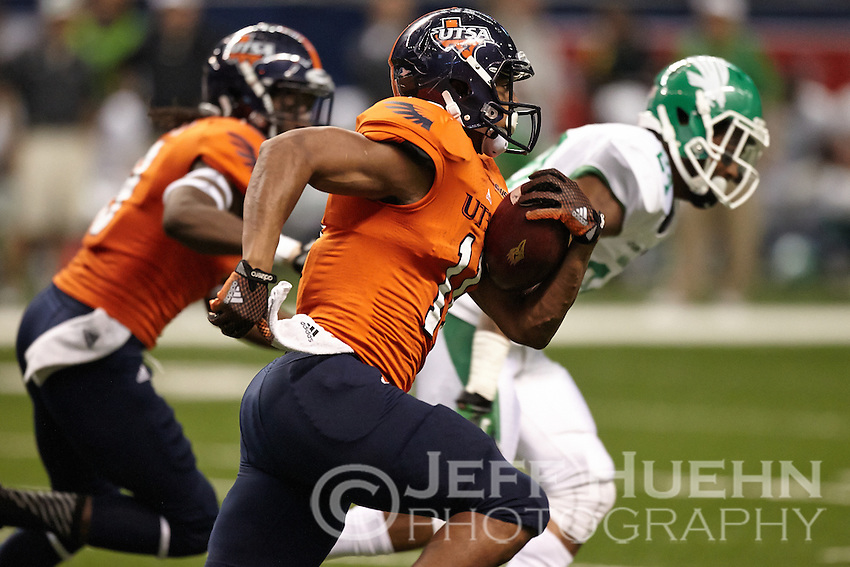 SAN ANTONIO, TX - NOVEMBER 29, 2014: The University of North Texas Mean Green fall to the University of Texas at San Antonio Roadrunners 34-27 at the Alamodome. (Photo by Jeff Huehn)