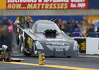 Oct 1, 2016; Mohnton, PA, USA; The rear tire on the car of NHRA funny car driver Jim Campbell comes off the ground during qualifying for the Dodge Nationals at Maple Grove Raceway. Mandatory Credit: Mark J. Rebilas-USA TODAY Sports
