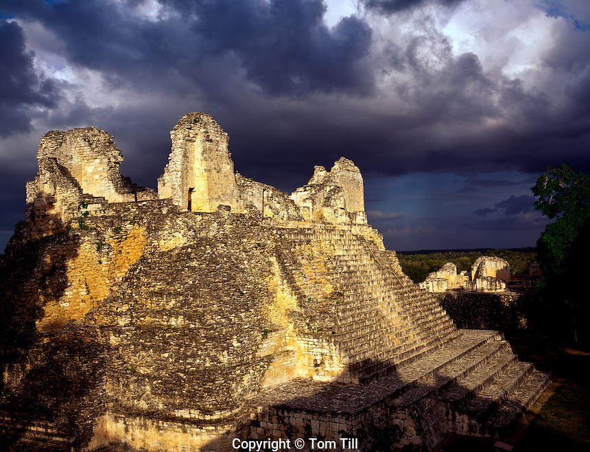 Temple Four at Becan Becan Mayan Ruins Campeche State, Yucatan Peninsula, Mexico Mayan Ruins from 600-850 AD Sunset 45 H