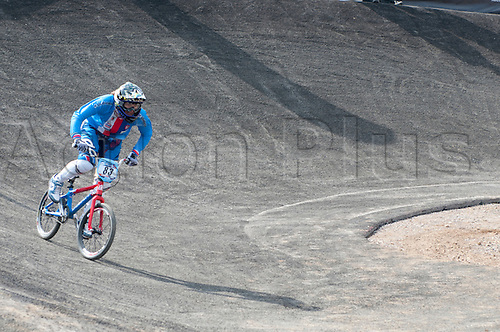 19.08.2011 Jana Horakova (CZE) Comes out of the Final Turn and onto  the Final Straight During the Womens time trial Qualifiers at the 2011 UCI BMX Supercross World Cup, Part of the London Olympic Test Events. Olympic Park, London, England. Jana  Qualified in tenth place.