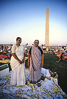 Indian women dressed in saris celebrating the 4th of July on the Mall in Washington DC, 1993.