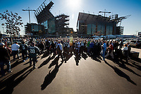 Fans stream into Lincoln Financial Field in South Philadelphia on November 29, 2009 for the Eagles game against the Dallas Cowboys.
