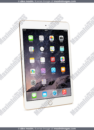 White gold Apple iPad Mini 3 tablet isolated with clipping path on white background