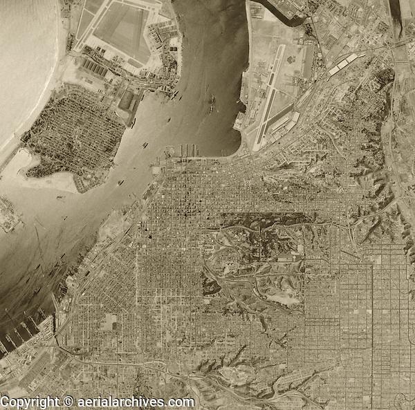 historical aerial photograph San Diego California 1956