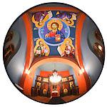 Miloje fixes the eyes of Christ at the Kragujevac cemetery church, Kragujevac, Serbia