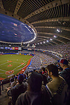 2 April 2016: A crowd of 53,420 baseball fans watch a pre-season exhibition series between the Toronto Blue Jays and the Boston Red Sox at Olympic Stadium in Montreal, Quebec, Canada. The Red Sox defeated the Blue Jays 7-4 in the second of two MLB weekend games, which saw a two-game series attendance of 106,102 at the former home on the Montreal Expos. Mandatory Credit: Ed Wolfstein Photo *** RAW (NEF) Image File Available ***