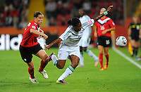 Rhian Wilkinson (l) of team Canada and Desire Oparanozie of team Nigeria during the FIFA Women's World Cup at the FIFA Stadium in Dresden, Germany on July 5th, 2011.