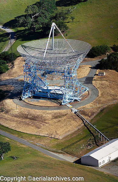 aerial view above Stanford Research Institute SRI  radio telescope California