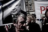 Krakow 18/04/2010 Poland<br /> People mourning the tragic death of President Lech Kaczynski and his wife in Krakow before funeral.<br /> on pictures: The crowd alternated between solemn hymns and defiant clapping every time the tragedy at Katyn was invoked.<br /> Photo: Adam Lach / Napo Images for The New York Times<br /> <br /> Zaloba po tragicznej smierci Prezydenta Lecha Kaczynskiego i jego malzonki w Krakowie przed pogrzebem.<br /> Fot: Adam Lach / Napo Images for The New York Times
