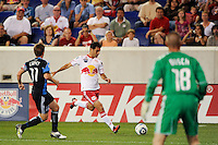 Rafael Marquez (4) of the New York Red Bulls about to cross the ball into the box. The New York Red Bulls defeated the San Jose Earthquakes 2-0 during a Major League Soccer (MLS) match at Red Bull Arena in Harrison, NJ, on August 28, 2010.