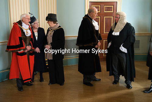 Hercules Clay  Penny Loaf Day. The Mayor of Newark Tom Bickley and the Lady Mayoress Ondra Bickley, wait in line to receive guests in the Town Hall at the start of the reception.<br /> <br /> Hercules Clay Penny Loaf Day. Hercules Clay a wealthy cloth merchant who was a former Newark businessman and in 1644 Royalist Mayor of the town during the English Civil War. For three nights in a row he dreampt of his house burning and he took this as an omen, moving out just before the house was indeed damaged by a &ldquo;grenado&rdquo;, a mortar shell fired by the besieging Parliamentary forces.  He died in 1645, and in his Will he left a legacy providing for an annual sermon in which the preacher was to &lsquo;exhort the people not to set their affections on things of this world but by their good works to lay &hellip; hold on eternal life&rsquo;, and for bread to be distributed to the poor.