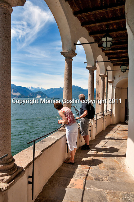 The Hermitage of Santa Caterina del Sasso, a church and  two convents that date back to the 12th and 15th centuries, on the side of the mountain overlooking Lake Maggiore, Italy.