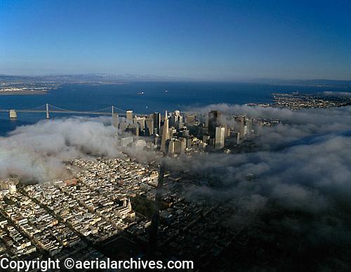 aerial photograph Columbus Avenue fog San Francisco, California