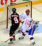 15 November 2008:  Philadelphia Flyers' right wing forward Scottie Upshall scores the Flyers' first goal in the second period against the Montreal Canadiens during their first meeting in Montreal since the Flyers knocked the Canadiens out of the playoffs last season. The Canadiens, celebrating their 100th season, fell to the visiting Flyers 2-1 at the Bell Centre in Montreal, Quebec, Canada. ***Editorial Sales Only***..Mandatory Photo Credit: Ed Wolfstein Photo *** Editorial Sales through Icon Sports Media *** www.iconsportsmedia.com
