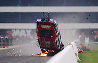 Sept. 16, 2012; Concord, NC, USA: NHRA pro stock driver Shane Gray goes airborne as he crashes during the O'Reilly Auto Parts Nationals at zMax Dragway. Gray would be uninjured. Mandatory Credit: Mark J. Rebilas-