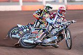 Heat 6: Richardson (red) and Woffinden - Lakeside Hammers vs Wolverhampton Wolves - Sky Sports Elite League Speedway at Arena Essex Raceway, Purfleet - 24/05/10 - MANDATORY CREDIT: Gavin Ellis/TGSPHOTO - Self billing applies where appropriate - Tel: 0845 094 6026