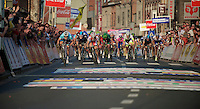 E3 Prijs Harelbeke 2012.sprinting for the win: Tom Boonen keeps off a charging Oscar Freire