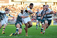 Frank Halai of Wasps takes on the Leicester Tigers defence. Aviva Premiership match, between Leicester Tigers and Wasps on November 1, 2015 at Welford Road in Leicester, England. Photo by: Patrick Khachfe / Onside Images