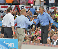 KISSIMMEE, FL - NOVEMBER 06: Sen. Bill Nelson (D-FL) (C)and Democratic Representative from Florida Patrick Murphy (L) introduce President Barack Obama Campaign for Hillary Clinton to a crowd of 11,000 supporters join by Award-Winning Artist Stevie Wonder at Osceola County Stadium on Sunday, November 6, 2016 in Kissimmee, Florida. President Obama continued to stomp for Hillary with two day left to the election.  Credit: MPI10 / MediaPunch