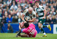 Dan Cole of Leicester Tigers runs into Jonathan Danty of Stade Francais. European Rugby Champions Cup quarter final, between Leicester Tigers and Stade Francais on April 10, 2016 at Welford Road in Leicester, England. Photo by: Patrick Khachfe / JMP