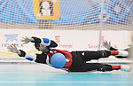 November 18 2011 - Guadalajara, Mexico:  Brendan Gaulin of Team Canada makes a stop in the Goalball Bronze Medal Match in the San Rafael Park Sports Complex at the 2011 Parapan American Games in Guadalajara, Mexico.  Photos: Matthew Murnaghan/Canadian Paralympic Committee