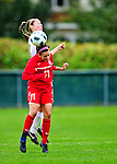 14 October 2010: University of Hartford Hawks defender Giovanna Velardo, a Sophomore from Stormville, NY, jumps for a header against University of Vermont Catamount midfielder Caitlin McGowan, a Senior from Rye, NY, at Centennial Field in Burlington, Vermont. The Hawks defeated the Lady Cats 6-2 in America East play. Mandatory Credit: Ed Wolfstein Photo