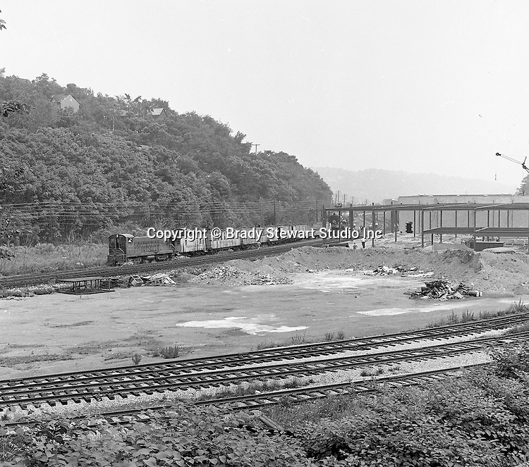 Corliss PA - View of a train derailment at the PA Railroad station at Corliss Pennsylvania.  The assignment was for the PA Railroad due to a train derailment near the station - 1964.  Brady Stewart Studio was a contract photography studio for the railroad from 1955 through 1965.