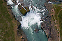 Godafoss waterfall on the Skjalfandafljot River, northern Iceland - aerial