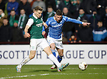 Hibs v St Johnstone...30.01.16   Utilita Scottish League Cup Semi-Final, Tynecastle..<br /> Michael O'Halloran is tackled by Paul Hanlon<br /> Picture by Graeme Hart.<br /> Copyright Perthshire Picture Agency<br /> Tel: 01738 623350  Mobile: 07990 594431