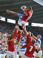 Steve Mafi of Tonga wins the ball at a lineout. Rugby World Cup Pool C match between Argentina and Tonga on October 4, 2015 at Leicester City Stadium in Leicester, England. Photo by: Patrick Khachfe / Onside Images
