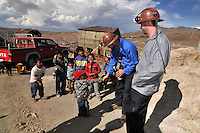 Preparing for a tour the Potosi silver mines in Potosi, Bolivia