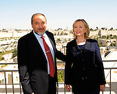 United States Secretary of State Hillary Rodham Clinton poses for a photo with Minister of Foreign Affairs and Deputy Prime Minister of Israel Avigdor Lieberman at the David Citadel Hotel in Jerusalem, Israel, on Wednesday, September 15, 2010. .Credit: Department of State via CNP.