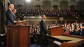 United States President Barack Obama acknowledges members of Congress before delivering his State of the Union address in front of a joint session of Congress on Tuesday, January 24, 2012 on Capitol Hill in Washington, DC. .Credit: Saul Loeb / Pool via CNP