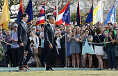 United States President Barack Obama, right, walks past guests to review the troops with Prime Minister Justin Trudeau of Canada, left, during an Arrival Ceremony on the South Lawn of the White House in Washington, DC on Thursday, March 10, 2016. <br /> Credit: Olivier Douliery / Pool via CNP