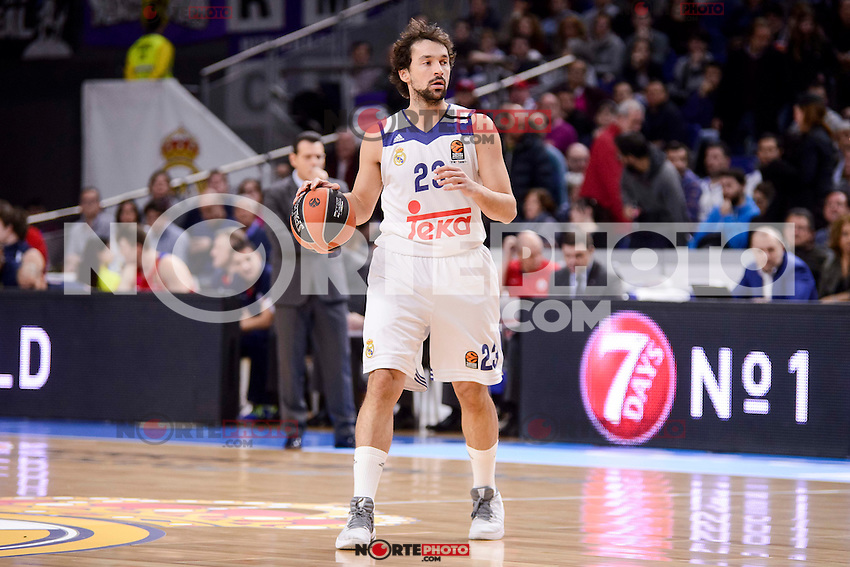 Real Madrid's Sergio Llull during Turkish Airlines Euroleague match between Real Madrid and CSKA Moscow at Wizink Center in Madrid, Spain. January 06, 2017. (ALTERPHOTOS/BorjaB.Hojas)