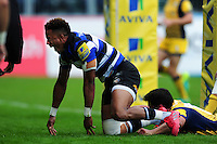 Anthony Watson of Bath Rugby celebrates scoring a try. Aviva Premiership match, between Bath Rugby and Worcester Warriors on September 17, 2016 at the Recreation Ground in Bath, England. Photo by: Patrick Khachfe / Onside Images