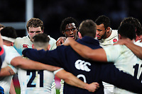 Maro Itoje of England looks on in a post-match huddle. RBS Six Nations match between England and Scotland on March 11, 2017 at Twickenham Stadium in London, England. Photo by: Patrick Khachfe / Onside Images