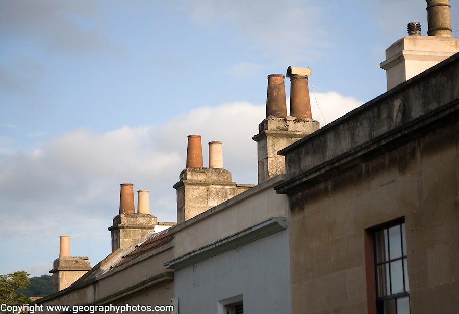 Chimney pots on Georgian houses in Larkhall, Bath, Somerset, England