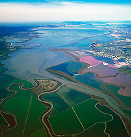 aerial view above south San Francisco bay salt pond system wetlands and sloughs