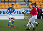 St Johnstone Academy v Manchester United Academy....17.04.15   <br /> Nathan Brown clears from Jake Kenyon<br /> Picture by Graeme Hart.<br /> Copyright Perthshire Picture Agency<br /> Tel: 01738 623350  Mobile: 07990 594431
