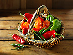 Mixed fresh chiilies (chilies) photos, pictures & images