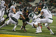 College Park, MD - October 22, 2016: Maryland Terrapins running back Lorenzo Harrison (23) scores a touchdown during game between Michigan St. and Maryland at  Capital One Field at Maryland Stadium in College Park, MD.  (Photo by Elliott Brown/Media Images International)