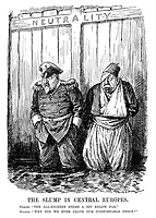 """The Slump in Central Europes. Ferdie. """"The all-highest seems a bit below par."""" Sultan. """"Why did we ever leave our comfortable fence?"""" (Ferdinand I of Bulgaria and Mehmed V of Turkey stand in rising water after having jumped from the Neutrality fence during WW1)"""