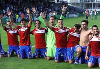 FUSSBALL   DFB POKAL   SAISON 2011/2012  1. Hauptrunde SpVgg Unterhaching - SC Freiburg             31.07.2011 Haching JUBEL nach dem Sieg